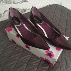 Patent Pointed Toe Kitten Heel Shoe/Purple