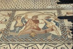 Detail of Roman mosaic in Volubilis (Morocco) - UNESCO World Heritage list