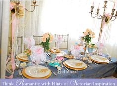 Victorian inspired bridal tea with peach and blue accents.