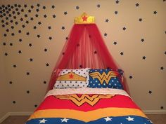 Wonder Woman themed canopy for reading book. Cover bean bag in blue w stars. Woman Bedroom, Girls Bedroom, Bedrooms, Bedroom Themes, Bedroom Decor, Bedroom Ideas, Bedroom Makeovers, Superhero Room, Superhero Classroom