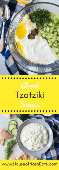 Greek tzatziki sauce is a bright, delicious combination of Greek yogurt, cucumber, garlic, and a few other traditional flavors that are incredible with meat, fish, veggies, or bread. It is so easy and takes all of 5 minutes to make your own batch that is