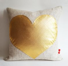 2014 Custom pillows - Sukan / Gold Heart Pillow Cover  personalized heart