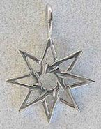 "The eight pointed star is a Gnostic symbol, known as the ""Octagram of Creation."" It is associated with Venus, and is also sacred to Ishtar. In Nordic tradition, the octagram is used to invoke magick and also as a protecting ideogram. Chaospheres have eight points: four points of order at 90 degrees and four points of chaos at 45 degrees"