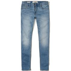 Hollister Advanced Stretch Extreme Skinny Jeans (1,565 THB) ❤ liked on Polyvore featuring men's fashion, men's clothing, men's jeans, men, faded medium wash, mens super skinny stretch jeans, mens frayed jeans, mens stretchy jeans, mens stretch jeans and mens embroidered jeans