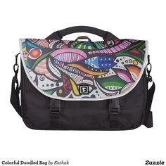 Colorful Doodled Bag Laptop Messenger Bag