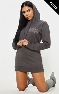 6ca57db550 Petite Charcoal Space Slogan Oversized Hooded Jumper Dress