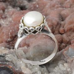 PEARL 925 STERLING SILVER RING JEWELRY 4.15g DJR9881 SZ-9 #Handmade #Ring