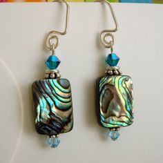 The+Piano+Paua+Shell+Earrings+Sterling+by+TheConnieHannaJewels,+$22.00