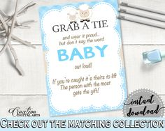 Grab A Tie, Lamb Blue Baby Shower Boy Theme in Blue, necktie game, baby shower blackie, party planning, party stuff, party decor - fa001 #babyshowergames #babyshower
