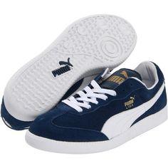 PUMA Liga Suede Classic Shoes ($55) ❤ liked on Polyvore featuring shoes, puma, synthetic shoes, puma shoes, puma footwear, suede shoes and suede leather shoes