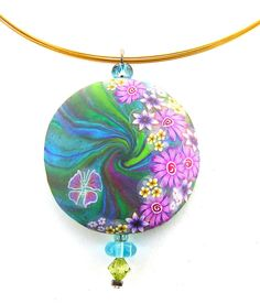 Flowery Round Pendant made of polymer clay by dreamsincolors, $28.00
