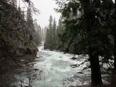 Benham Falls on the Deschutes River during a winter snow dusting