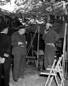 Winston Churchill pays a visit to General Bradley at his HQ at Saint Sauveur Lendelin, Normandy, July 8, 1944. At the time, Bradley was in command of the 12th Army Group numbering some 1.3 million soldiers - the largest army group in the history of the US Army. Churchill is sporting the uniform of a RAF Air Commodore and, of course, chews on one of his ubiquitous cigars.