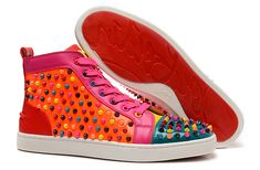 Christian Louboutin Louis Spikes Mens Flat High Top Patent Leather Sneakers Multicolor