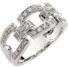 14K White Gold 1/3 ct tw Link-Style Diamond Band: 1/3 CT TW Size: 10 | Your #1 Source for Jewelry and Accessories