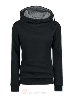 Color Contrast Leisure Hoodie for Women - BuyTrends.com