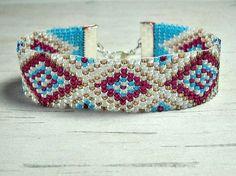 Diamond Bead Loom Bracelet  by BeadWorkBySmiley