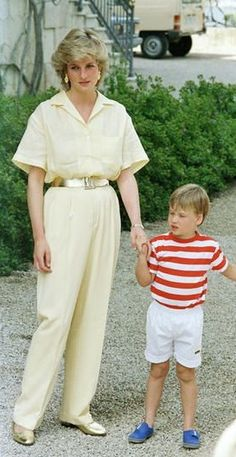 Diana, Princess of Wales with Prince William during a holiday in Spain in 1987