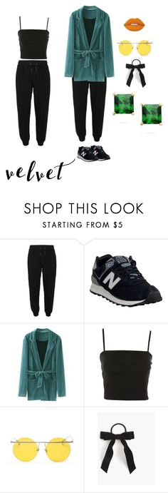 """Joggers and velvet"" by alura-luna ❤ liked on Polyvore featuring New Balance, Topshop, Lime Crime, LMNT, J.Crew and Sevil Designs"