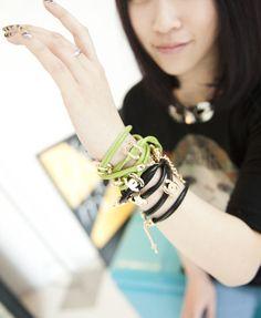 Double C Charm Leather Wrap Around bracelet from Chicnova
