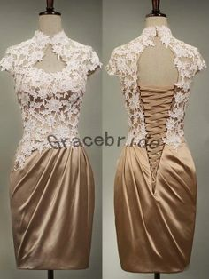 Champagne lace and brown satin dresses simple retro prom dress short bridesmaid dresses homecoming dresses evening dresses cocktail dresses