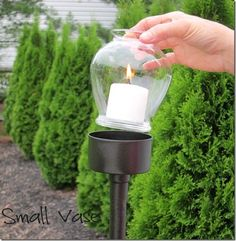 A tuna fish can, a PVC pipe, a dollar store vase, and a candle crafted together will create elegant walkway or patio lighting. (Vase should be tempered glass.) Cheap And Easy Backyard DIYs Outdoor Candle Lanterns, Diy Lantern, Garden Candles, Garden Lamps, Lantern Crafts, Outdoor Candle Holders, Garden Lanterns, Votive Holder, Organiser Son Dressing