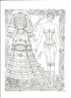 Brides Paper Dolls by Charles Ventura of Adult Coloring Book Pages, Colouring Pages, Free Coloring, Coloring Books, Paper Dolls Clothing, Doll Clothes, Victorian Bride, Paper Dolls Printable, Dibujos Cute