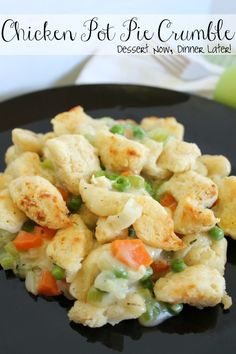 Chicken Pot Pie Crumble.  All the flavors of a chicken pot pie with fluffy, crisp chunks of cheesy biscuit on top.