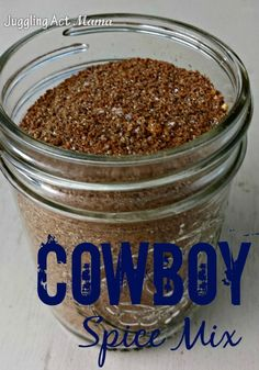 Cowboy Spice Mix This Steak Rub is amazing! You'll never eat steak the same way again with this Cowboy Spice Mix recipe- the perfect quick food gift for friends and family! Homemade Spices, Homemade Seasonings, Homemade Food Gifts, Homemade Bbq, Diy Gifts, Steak Rubs, Best Steak Rub, Do It Yourself Food, Dry Rub Recipes