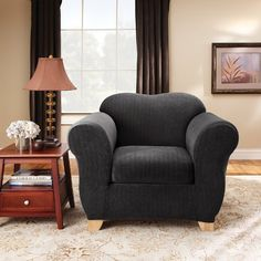 Sure Fit Stretch Pinstripe 2-Piece Chair Slipcover, Black by Sure Fit