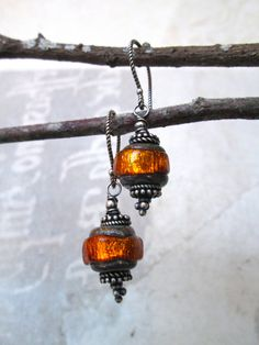 ORETE Blood Orange Lampwork Glass Bead & Sterling Earrings / Boho Chic / Organic