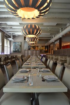 Inside Kabocha restaurant in Chicago - Lighting Design by Katie Possley | Emilia 160 Suspension in Grey Oak by WEP Light