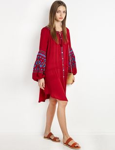 Flowy Sleeves Red Boho Button Dress