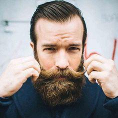 Full Beard with Handlebar Mustache