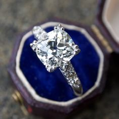 2.5 Carat Old Mine Cut Diamond Antique Engagement Ring