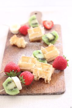 Waffle & fruits on a stick...love this idea for a fun twist on breakfast.  Just be sure to use SCD legal waffles.