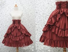High Waist Skirt Red Maroon Classic Gothic by CoruscateUnique                                                                                                                                                                                 Mais