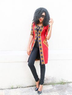 long-ankara-jacket-style African print fashion, African print outfit, red African print jacket.