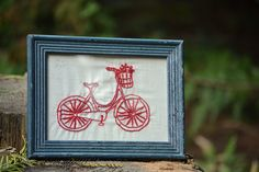 Framed Hand Embroidery // Redwork Bicycle // Farmhouse Americana