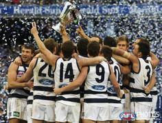 AFL 2011Grand Final: Collingwood v. Geelong. The Geelong Cats celebrate during the AFL 2011 Toyota Grand Final match between the Collingwood Magpies and the Geelong Cats at the MCG, Melbourne.