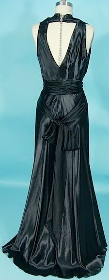 c. 1930's MADELINE VIONNET Gown of Black Crepe-Satin with Rhinestone Clips and Chain Down Back