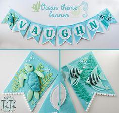 Personalized felt baby pennant banner name Custom ocenan