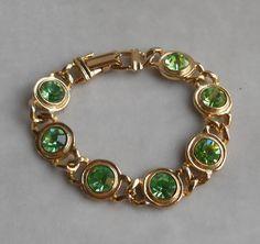 Pretty Green Lime Mint and Gold Bracelet Rhinestones 1950s 1960s Large Stones. $25.00, via FamilyJewelsNYC.etsy.com