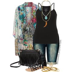 Plus Size - Kimono Jacket by alexawebb on Polyvore featuring Johnny Was, maurices, Wet Seal, Rebecca Minkoff, Amrita Singh, Chan Luu, SunaharA, outfit, plussize and plussizefashion