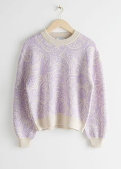 Paisley Jacquard Knitted Sweater - Lilac - Sweaters - & Other Stories Benetton, Colourful Outfits, Colorful Fashion, Fashion Story, Fashion Outfits, Color Lavanda, Clothes For Sale, Clothes For Women, Glamour