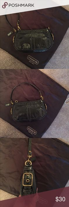 Authentic Coach Wristlet Beautiful Authentic Coach Zoe patent leather wristlet with brass/black hardware. Perfect for an evening out. Comes with original receipt and care card. Coach Bags Clutches & Wristlets