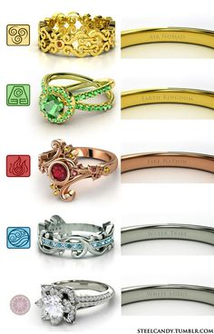 Rings for each element in Avatar: the last airbender (atla air fire water earth aang korra four elements greek metal elemental jewelry four nations fandom white lotus ootwl air nomad fire nation earth kingdom water tribe)