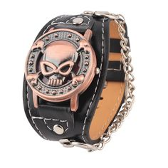 New skull cover quartz Watch men women fashion leather wrist watch Leather Bracelet Watch Men's Biker Metal Relogio Masculino #CLICK! #clothing, #shoes, #jewelry, #women, #men, #hats, #watches