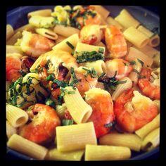 Garlic butter basil and shrimp. Yum!