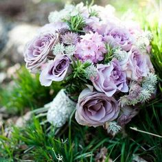 Hand Tied Wedding Bouquet Showcasing: Lavender Roses, Lavender Hyacinth, Lavender & White Astrantia, Green Rosemary >>>>